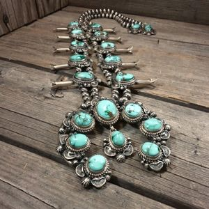 Turquoise squash blossom necklace and earrings set